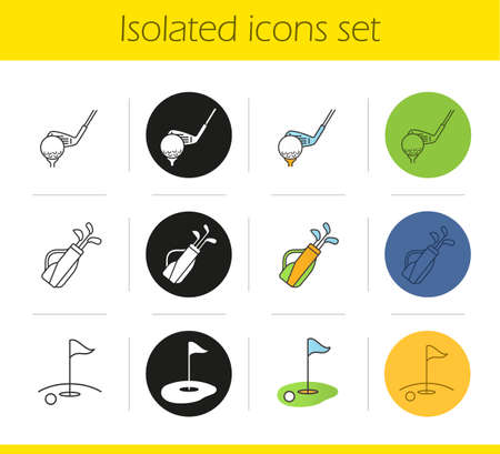 Golf icons set. Linear, black and color styles. Golf clubs in bag, ball on tee, course. Isolated vector illustrations