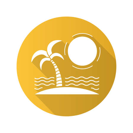 Tropical island flat design long shadow icon. Seashore with sun, waves and palm tree. Vector silhouette symbol