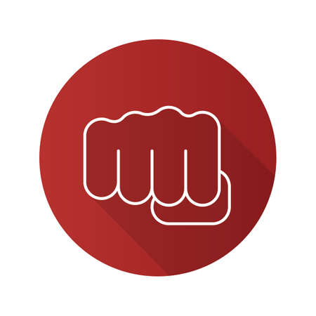 clench: Punch flat linear long shadow icon. Squeezed fist. Vector line symbol