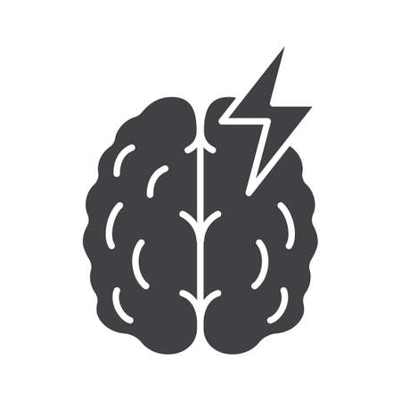 Stroke glyph icon. Cerebral hemorrhage silhouette symbol. Human brain with lightning. Negative space. Vector isolated illustration