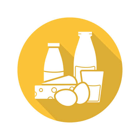 Dairy products flat design long shadow icon. Yogurt, bottle and glass of milk, eggs and cheese. Grocery store items. Vector silhouette symbol Illustration