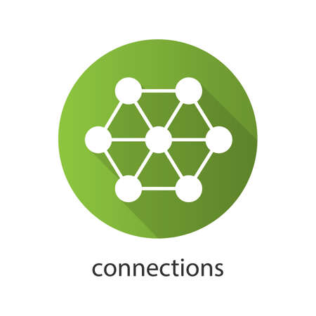Connections flat design long shadow icon. Interrelation abstract metaphor. Vector silhouette symbol