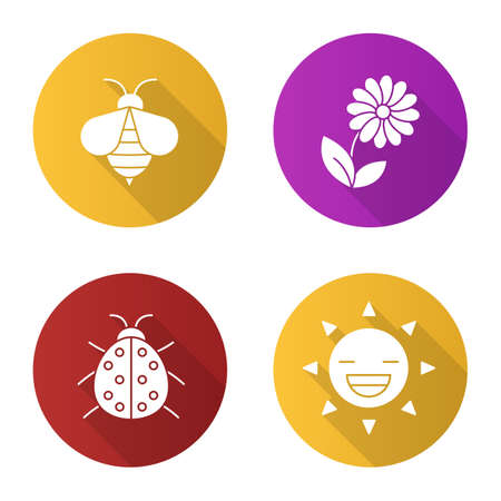 aster: Summer flat design long shadow icons set. Wasp, ladybug, flower, smiling sun. Nature. Vector silhouette illustration Illustration