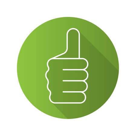 approval icon: Thumbs up hand gesture. Flat linear long shadow icon. Approval and like sign. Vector line symbol