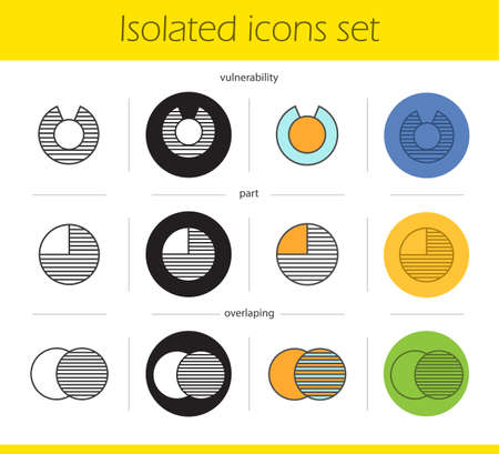 vulnerable: Abstract symbols icons set. Linear, black and color styles. Overlapping, part, vulnerability concepts. Isolated vector illustrations Illustration