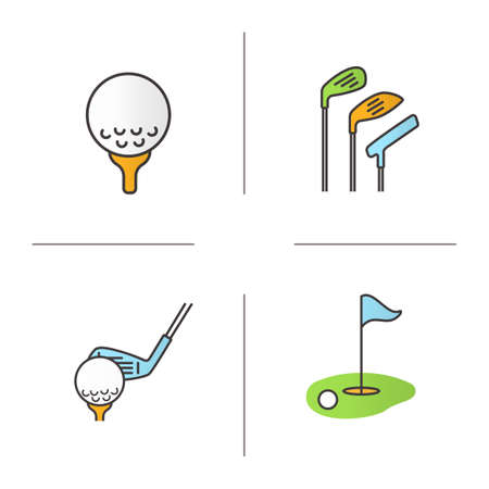 Golf color icons set. Golf course, clubs, ball on tee. Isolated vector illustrations