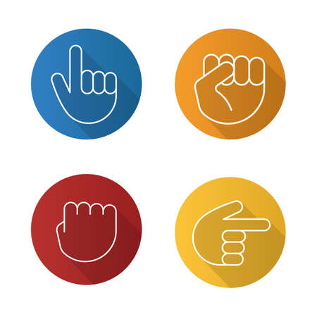 Hand gestures flat linear long shadow icons set. Squeezed and raised fists, hands pointing right and up. Vector line illustration Illustration