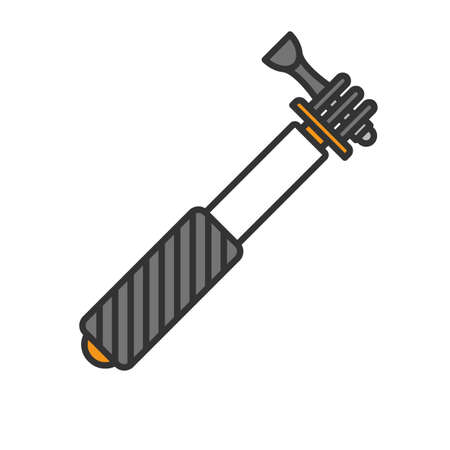 Monopod color icon. Selfie stick. Isolated vector illustration Illustration