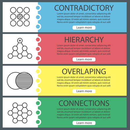 contradictory: Abstract symbols banner templates set. Contradictory, hierarchy, overlaping, connections. Website menu items with linear icons. Color web banner. Vector headers design concepts