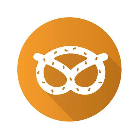 crunchy: Pretzel flat design long shadow icon. Oktoberfest brezel. Vector silhouette symbol