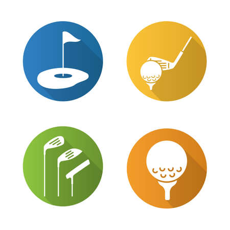 Golf flat design long shadow icons set. Golf course, clubs, ball on tee. Vector silhouette illustration