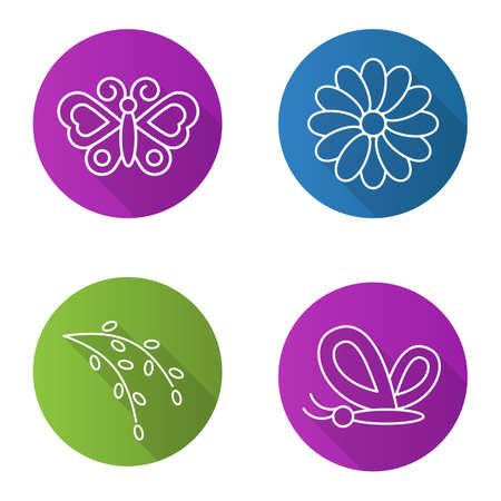 Spring flat linear long shadow icons set. Butterflies, camomile flower, willow blossom. Nature. Vector line illustration