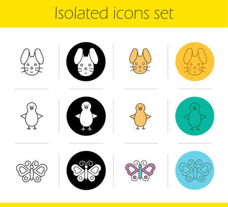 fledgeling: Animals icons set. Linear, black and color styles. Rabbit, chicken, butterfly. Isolated vector illustrations
