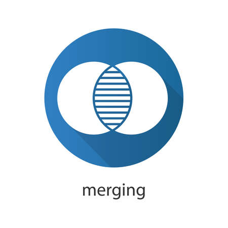 Merging flat design long shadow icon. Cell absorption. Integration abstract metaphor. Vector silhouette symbol