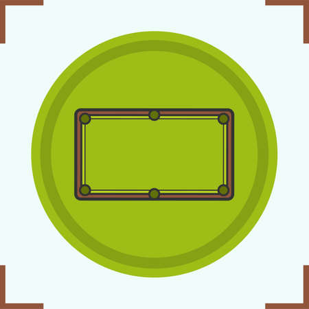 game of pool: Billiard table color icon. Isolated vector illustration Illustration