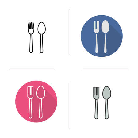 eatery: Eatery icon. Flat design, linear and color styles. Fork and spoon. Isolated vector illustrations