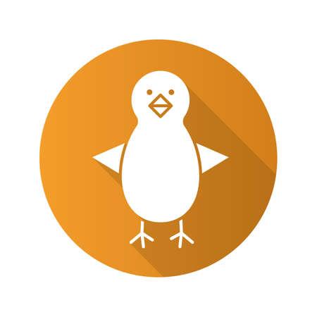 fledgeling: Chicken flat design long shadow icon. Nestling. Vector silhouette symbol