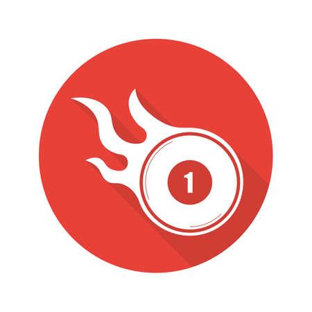 billiard ball: Burning billiard ball. Flat design long shadow icon. Number 1 billiard ball. Vector silhouette symbol Illustration