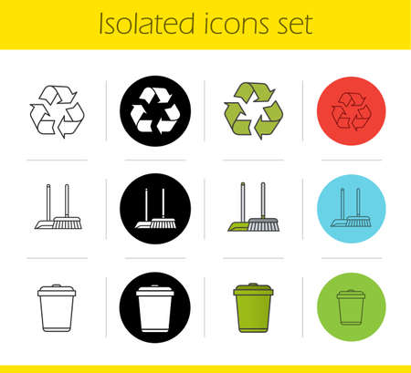 cleanliness: Cleaning service icons set. Linear, black and color styles. Environment protection. Recycle symbol, mop and dustpan, wastebasket. Isolated vector illustrations Illustration
