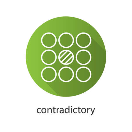 contradictory: Contradictory symbol flat linear long shadow icon. Abstract metaphor. Vector line symbol