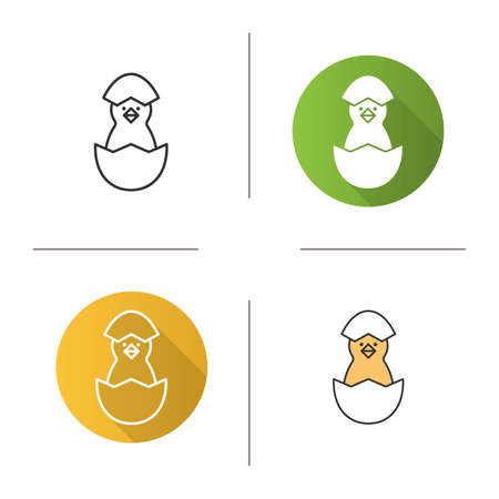 fledgeling: Newborn chicken icon. Flat design, linear and color styles. Nestling in egg shell. Isolated vector illustrations