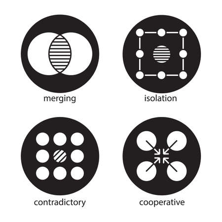 Abstract symbols icons set. Merging, isolation, contradictory, cooperative concepts. Vector white silhouettes illustrations in black circles