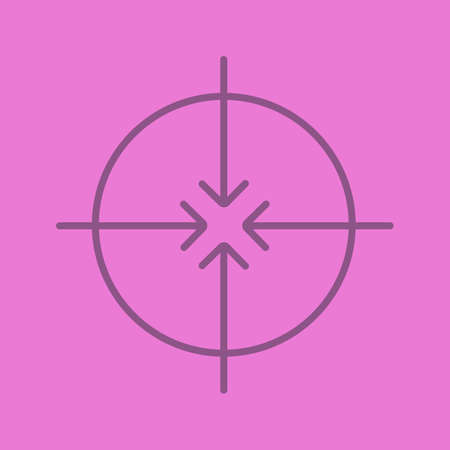 Aiming abstract symbol color linear icon. All direction arrows. Thin line contour symbols on color background. Illustration