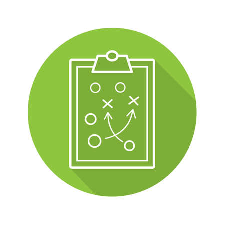 Clipboard game plan. Flat linear long shadow icon. Sport game strategy scheme. Vector line symbol Illustration