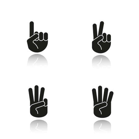 Hand gestures drop shadow black icons set. One, two, three and four fingers up. Isolated vector illustrations