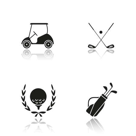 cast iron: Golf championship drop shadow black icons set. Ball in laurel wreath, crossed clubs, cart and bag. Isolated vector illustrations