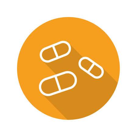 paracetamol: Medicine pills flat linear long shadow icon. Drugs. Pharmacy. Vector line symbol Illustration