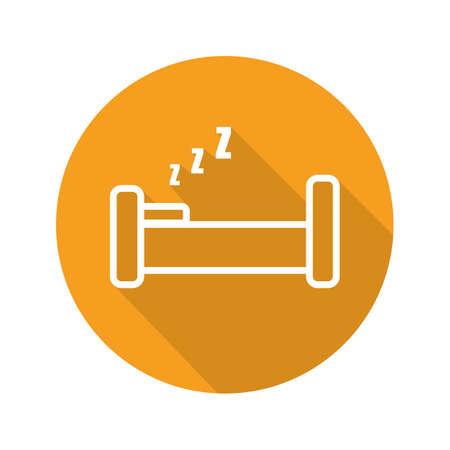 ベッド フラット直線の長い影のアイコン。ベクトル線記号  イラスト・ベクター素材