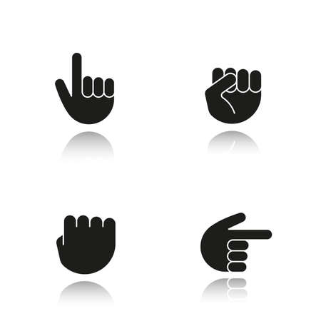 Hand gestures drop shadow black icons set. Squeezed and raised fists, hands pointing right and up. Isolated vector illustrations