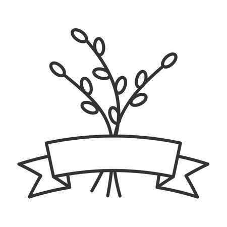 Willow branches with ribbon linear icon. Thin line illustration of Catkins contour symbol. Vector isolated outline drawing.