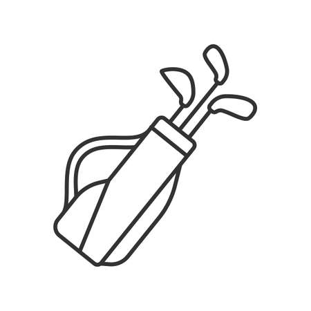 Golf bag linear icon. Thin line illustration. Golf clubs in bag contour symbol. Vector isolated outline drawing Иллюстрация
