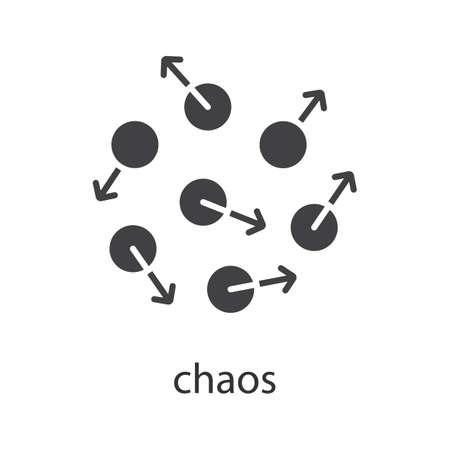 science symbols metaphors: Chaos glyph icon. Silhouette symbol. Chaotic movement. Negative space. Vector isolated illustration Illustration