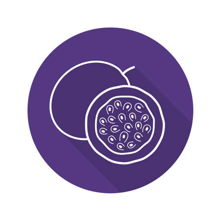 halved  half: Passion fruit flat linear long shadow icon. Vector line symbol Illustration