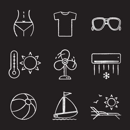 body temperature: Summer chalk icons set. Womans body, t-shirt, sunglasses, summer heat, fan, air conditioner, beach ball, sunbed, sailboat.