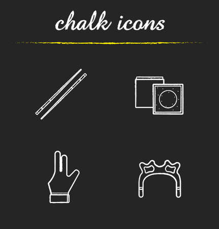 pool cues: Billiard accessories chalk icons set. Pool equipment. Cues, chalk, glove, rest head. Isolated vector chalkboard illustrations Illustration