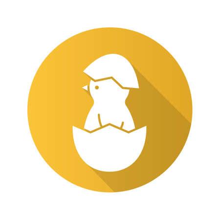 新生児鶏フラットなデザインの長い影のアイコン。卵の殻に寄り添います。ベクトル シルエット記号