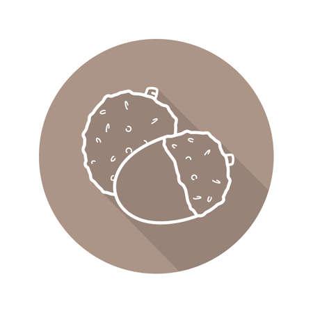 Lychee fruit plat linéaire grandissime icône. Symbole de ligne de vecteur Banque d'images - 80915202