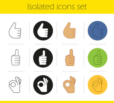alright: Hand gestures icons set. Linear, black and color styles. Thumbs up and OK hand gestures. Isolated vector illustrations Illustration