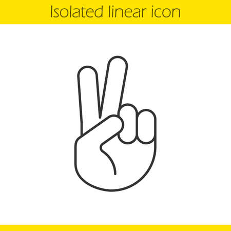 Peace hand gesture linear icon. Thin line illustration. Two fingers up contour symbol. Vector isolated outline drawing
