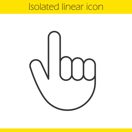 Attention hand gesture linear icon. Thin line illustration. Point up contour symbol. Vector isolated outline drawing