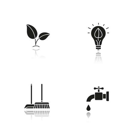 Environment protection drop shadow black icons set. Ecology sign, cleaning service, water resources, eco concept. Isolated vector illustrations