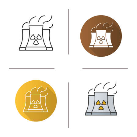 chernobyl: Nuclear power plant icon. Flat design, linear and color styles. Radiation symbol. Isolated vector illustrations