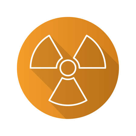 Radiation sign flat linear long shadow icon. Radioactive danger symbol. Nuclear energy. Vector line symbol