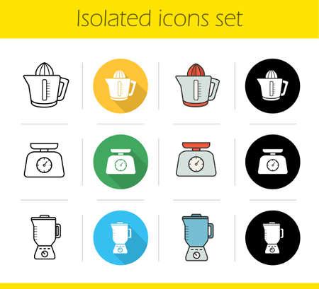 Keuken elektronica pictogrammen instellen. Plat ontwerp, lineaire, zwarte en kleurenstijlen. Keukenvoedselweegschalen, citruspers, blender. Geïsoleerde vectorillustraties