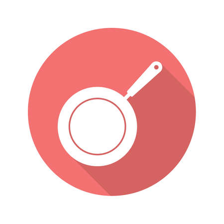 Frying pan flat design long shadow icon. Skillet. Vector silhouette symbol