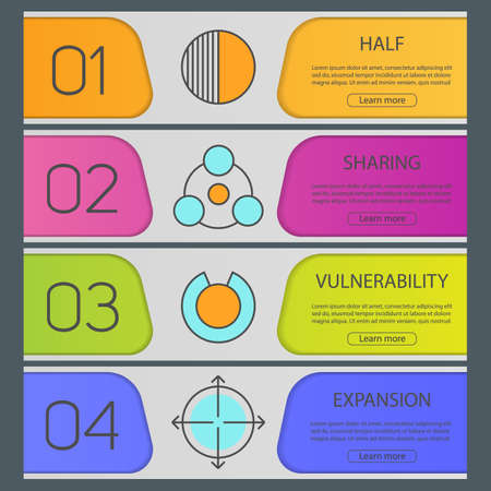 expansion: Abstract symbols banner templates set. Half, sharing, vulnerability, expansion. Website menu items. Color web banner. Vector headers design concepts Illustration